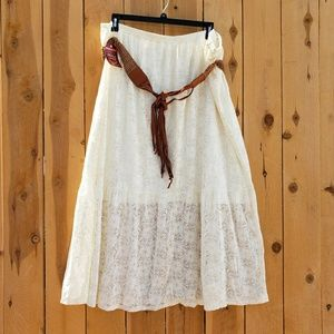Belted Cream Lace Maxi Skirt